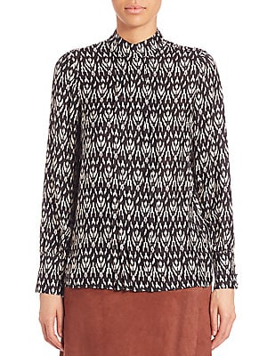 Ikat Pleated Front Blouse