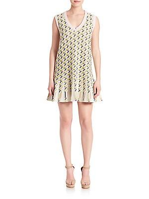 Geometric Patterned Sleeveless Dress