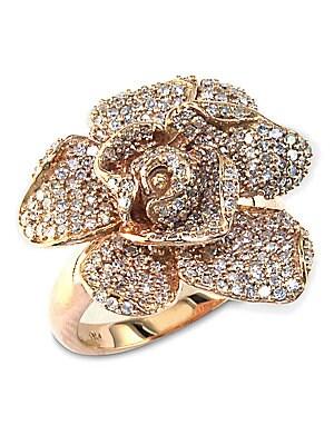 14 Kt. Rose Gold Diamond Pave Rose Ring