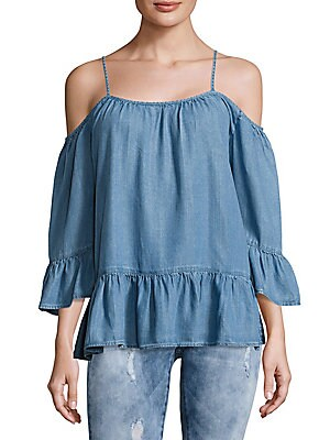 Cold-Shoulder Denim Top