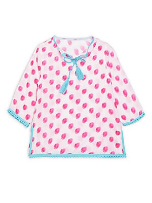 Little Girl's Tasseled Polka Dot Top