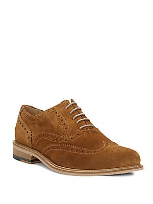 Suede Wing-Tip Oxfords