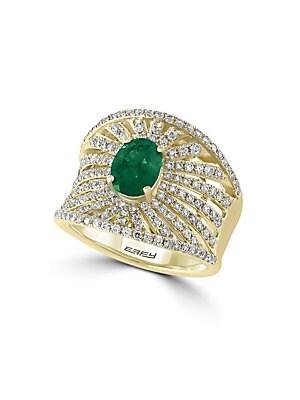 Diamond, Emerald & 14K Yellow Gold Ring