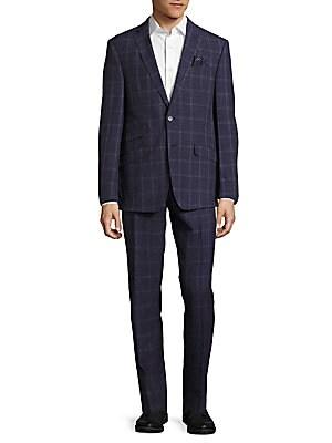 Classic Fit Windowpane Wool-Blend Suit