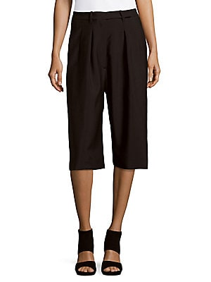 Solid Wool-Blend Culottes