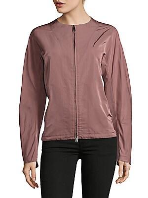 Silk-Blend Zip-Front Jacket