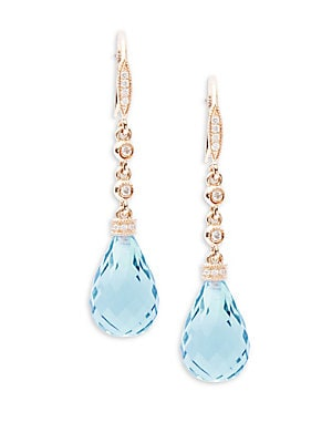 Diamond, Blue Topaz & 14K Rose Gold Teardrop Earrings
