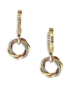 14Kt. Yellow White and Rose Gold Diamond Drop Earrings