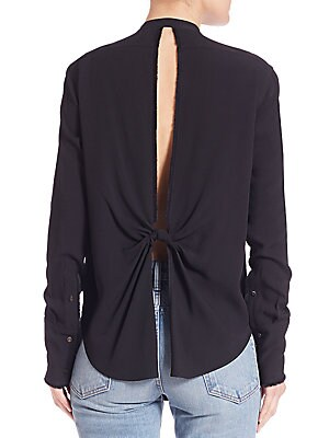 Long Sleeve Back-Knotted Blouse