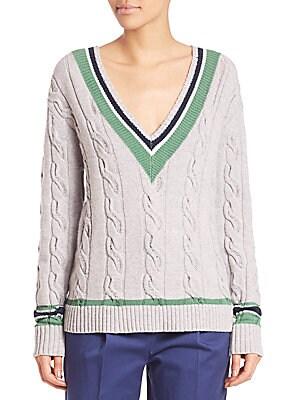 Collegiate V-Neck Cabled Sweater