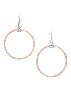 Final Call Diamond, 14K White & Rose Gold Hoop Earrings- 1.85in