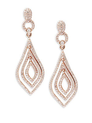 Diamond & 14K Rose Gold Earrings