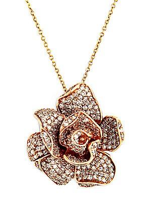 14 Kt. Rose Gold Diamond Rose Pendant Necklace