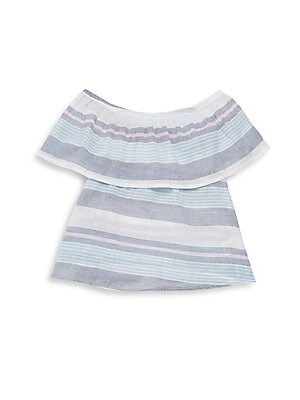 Girl's Striped Cotton Off-The-Shoulder Top
