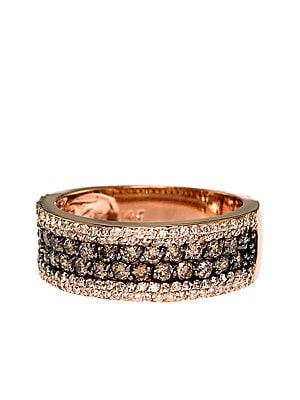 14Kt. Rose Gold Brown and White Diamond Ring