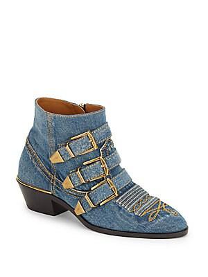 Block-Heel Denim Ankle Boots