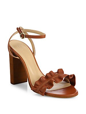 Kent Ruffled Leather Ankle-Strap Sandals