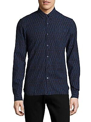 Button-Down Casual Printed Shirt