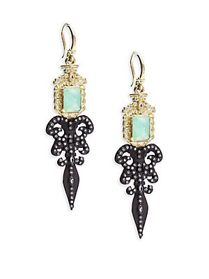 Old World Diamond, Sapphire, Chrysoprase, Rainbow Moonstone, 18K Yellow Gold & Sterling Silver Fleur de Lis Earrings