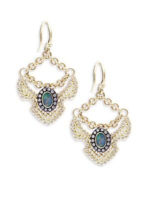 Old World Boulder Opals, Diamonds, 18K Yellow Gold & Sterling Silver Earrings