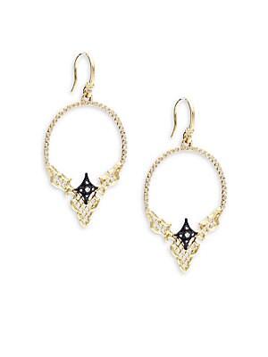 Old World Diamond, 18K Yellow Gold & Sterling Silver Hoop Earrings- 2in