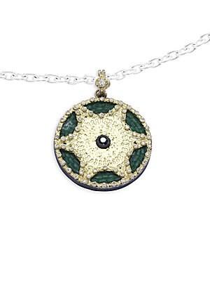 Old World Green Tourmaline, Diamond, 18K Yellow Gold & Sterling Silver Pendant Necklace