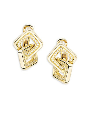 Link Diana Diamond & 18K Yellow Gold Earrings