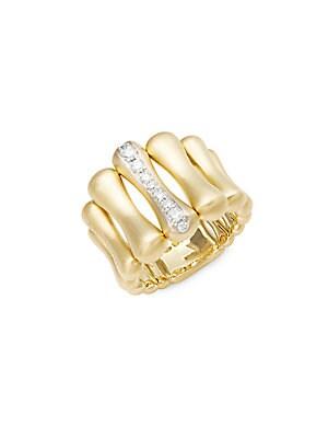 Bamboo Over Diamond & 18K Yellow Gold Ring