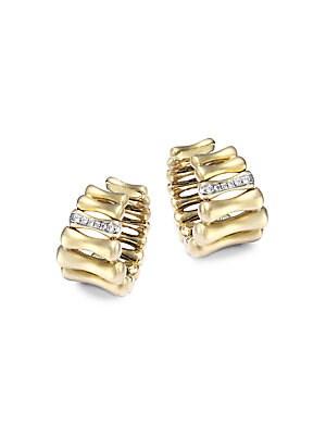 Bamboo Over Diamond & 18K Yellow Gold Hoop Earrings