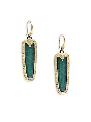 Old World Malachite, Rainbow Moonstone, Diamond, 18K Yellow Gold & Sterling Silver Earrings