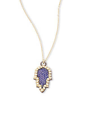 Old World Champagne Diamond, 18K Yellow Gold & Sterling Silver Pendant Necklace