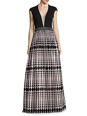 Deep V-Neck Geometric-Print Gown