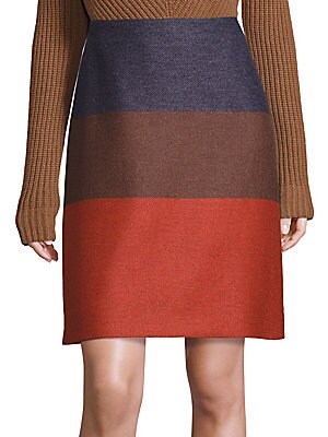 Primal Allure Virgin Wool & Cashmere Blend Colorblock Skirt