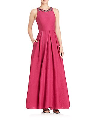 Pleated Silk Blend A-Line Gown