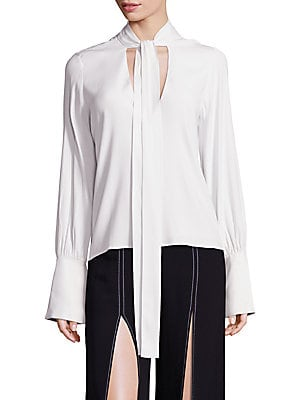 Diana Tie Neck Long Sleeve Top