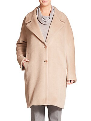 Alpaca-Wool Cocoon Coat