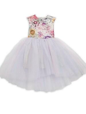 Little Girl's Metallic-Bodice Tulle-Skirt Dress