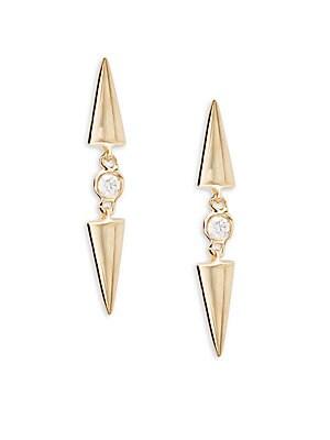Diamond & 14K Yellow Gold Mod Linear Earrings
