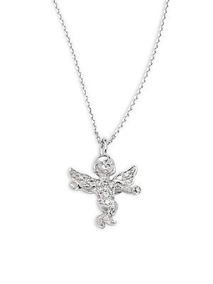 Click here for Diamond & 14K White Gold Angel Pendant Necklace prices
