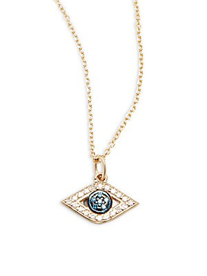 Blue, White Diamond & 14K Yellow Gold Necklace