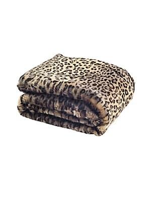 Faux Fur Leopard-Printed Throw
