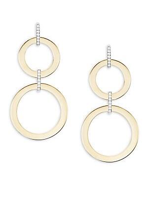 Basic Gold Diamond & 18K Yellow Gold Double Drop Earrings