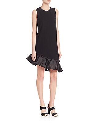 Asymmetric Ruffle Hem Shift Dress