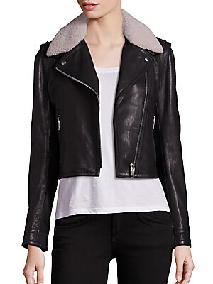 Shearling Collar Leather Moto Jacket