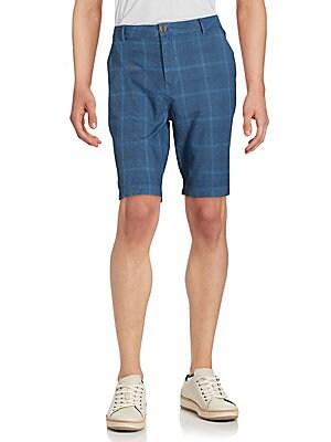 Windowpane Cotton Shorts