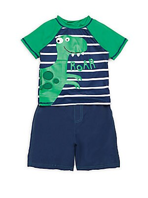 Little Boy's Two-Piece Striped Swim Trunks & Rash Guard Set