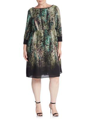 Babydoll Digital-Print Dress ABS, Plus Size