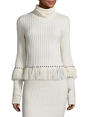 Studded Fringe Turtleneck Sweater