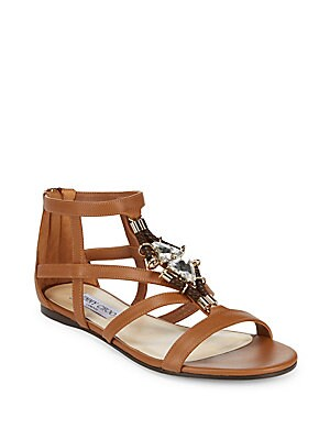 Nano Jeweled Leather Flat Sandals