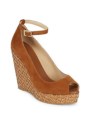 Pacific 120 Suede Ankle-Strap Cork Wedge Peep Toe Sandals